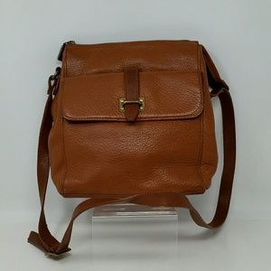 Fossil Brown Leather Messenger Crossbody Handbag